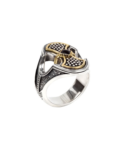 Men's Onyx-Inset Engraved Ring with 18k Gold Trim