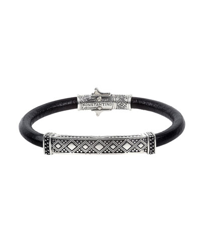 Men's Spinel-Inlay Leather Bracelet