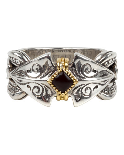 Men's Silver, 18k Gold & Onyx Ring