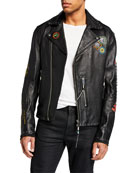 Diesel Men's L Juner Graphic Leather Moto Jacket