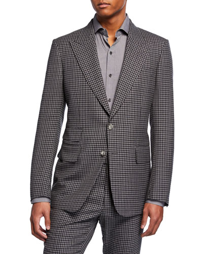 Men's Shelton Micro-Check Wool-Blend Two-Piece Suit