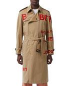 Burberry Men's Logo Typographic Trench Coat