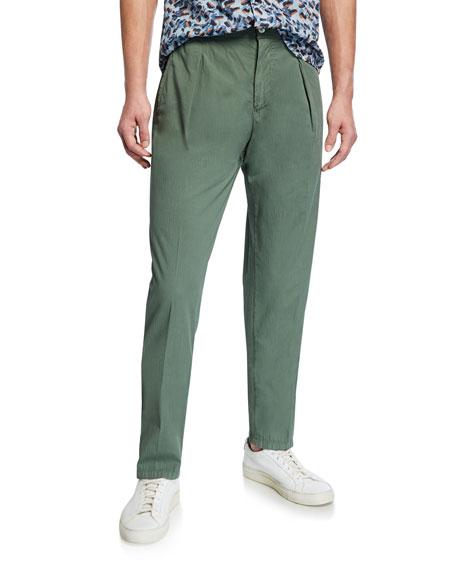 Marco Pescarolo Men's Solid Seersucker Pants, Green