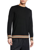 Burberry Men's Barner Striped-Trim Wool Sweater