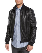 Emporio Armani Men's Napa Leather Bomber Jacket