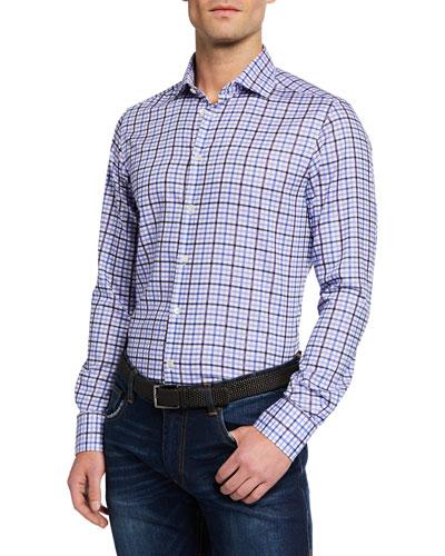 Men's Large-Check Sport Shirt, Light Blue