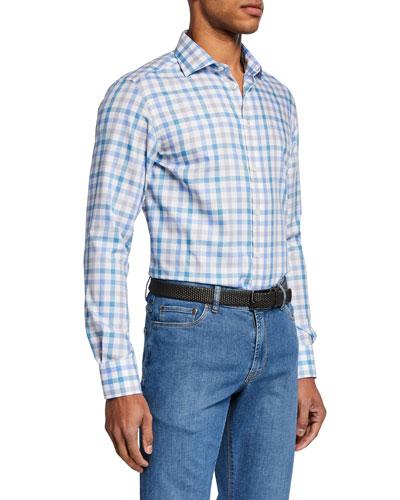 Men's Small-Check Sport Shirt, Aqua