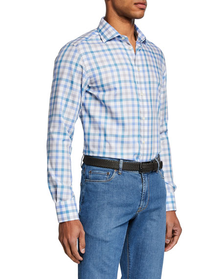 Neiman Marcus Men's Small-Check Sport Shirt, Aqua