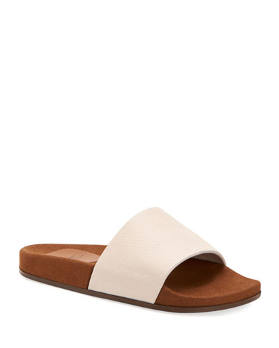Men's Percy Pebbled Leather Slide Sandals