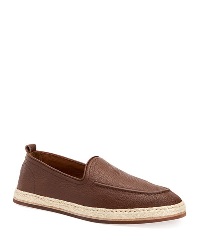 Men's John Pebbled Leather Espadrille Loafers