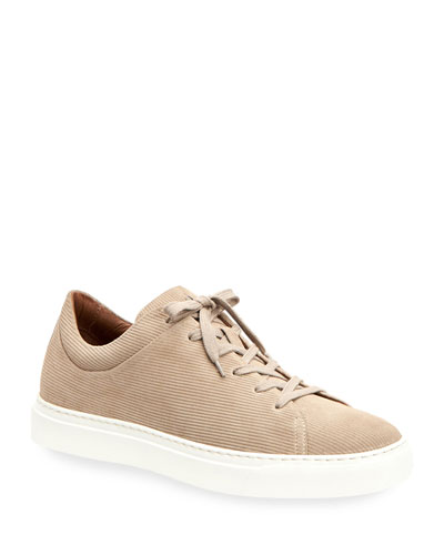 Men's Alaric Corduroy Suede Low-Top Sneakers