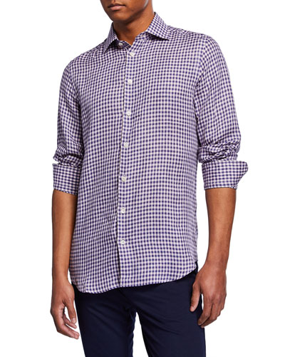 Men's Checked Linen Sport Shirt