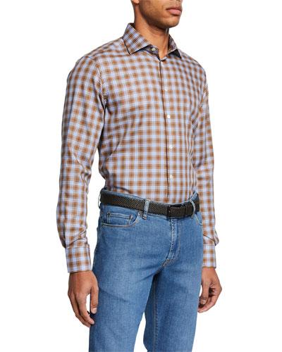 Men's Large-Check Sport Shirt, Brown