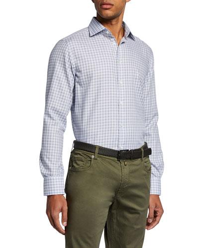 Men's Small-Check Sport Shirt, Brown