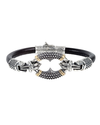 Men's Round Charm Leather Bracelet