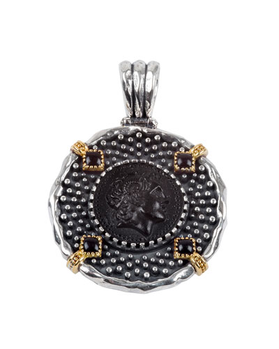 Men's Round Cameo-Face Pendant with Onyx Insets