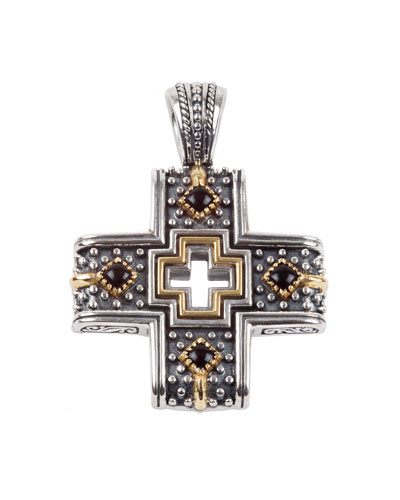 Men's Sterling Silver/18k Gold Cross Pendant with Onyx