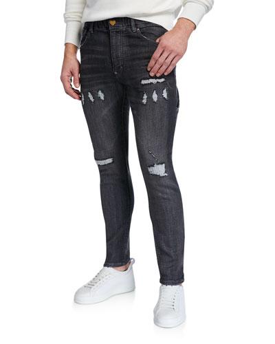 Men's HBZ Distressed-Denim Skinny Jeans