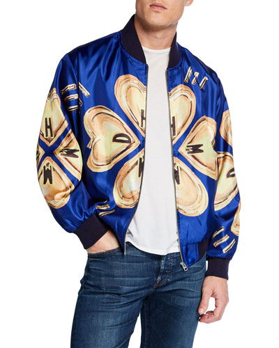 Men's Heart-Pattern Bomber Jacket