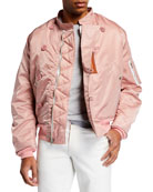 HUMAN MADE Men's Satin Zip-Front Flight Jacket