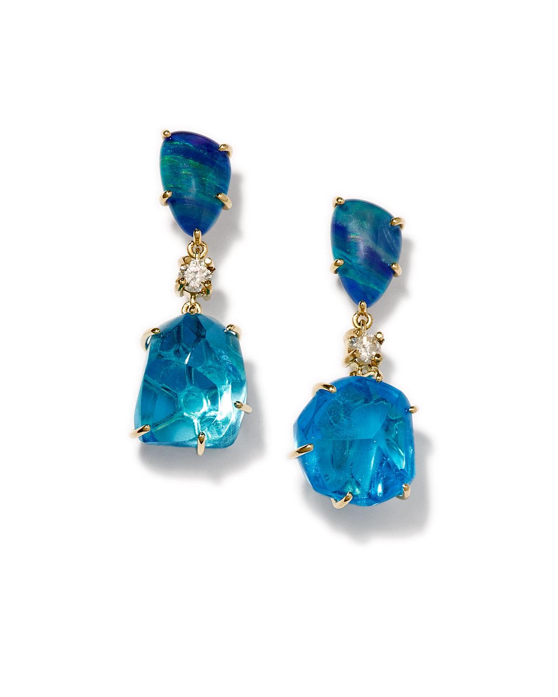 Jan Leslie Ties 18K BESPOKE TRIBAL LUXURY 2-TIER EARRING WITH OPAL TRIPLET, BLUE TOPAZ, AND DIAMOND