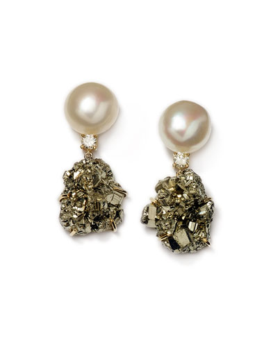 18k Bespoke Tribal Luxury 2-Tier Earring with Pearl, Pyrite, and Diamond