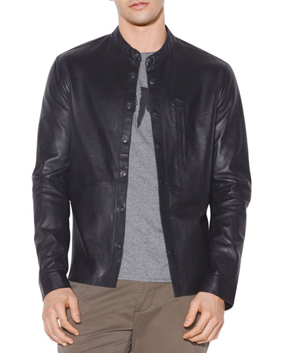 Men's Wyatt Leather Snap-Front Shirt Jacket
