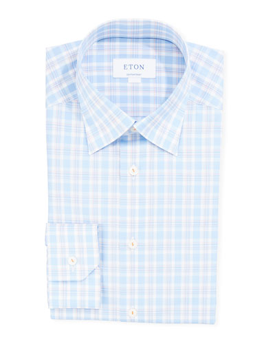 Men's Contemporary-Fit Two-Tone Check Dress Shirt