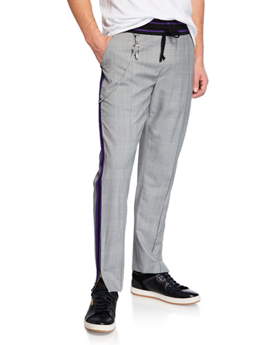 Men's Plaid Side-Zip Pants