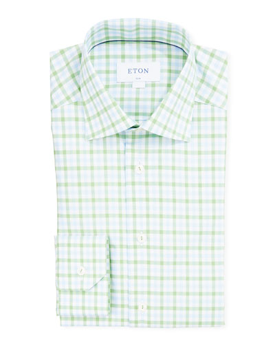 Men's Slim-Fit Two-Tone Check Dress Shirt