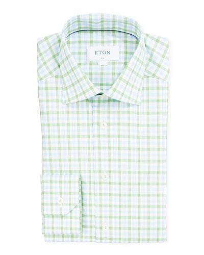 Men's Slim-Fit Two-Tone Check Dress Shirt