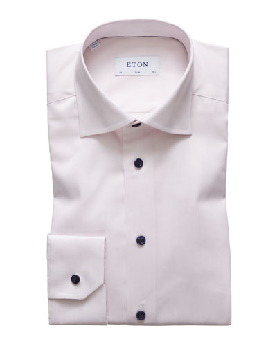 Men's Slim-Fit Contrast-Button Dress Shirt