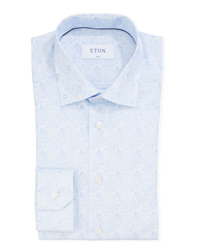 Men's Paisley Slim-Fit Dress Shirt