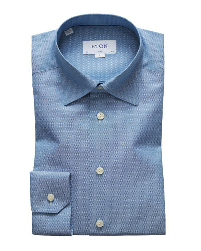 Men's Textured Slim-Fit Dress Shirt