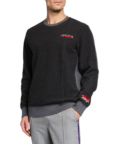 Men's Logo-Embroidered Two-Tone Sweatshirt