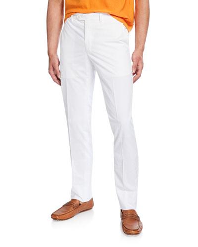 Men's Flat-Front Cotton Straight-Leg Pants
