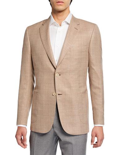 Men's Plaid Two-Button Jacket