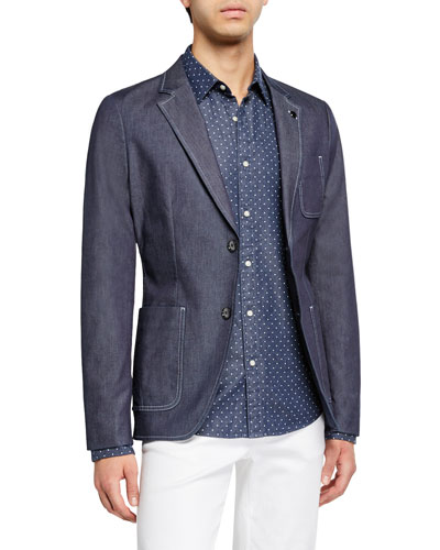 Men's Chambray Patch-Pocket Two-Button Jacket