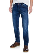 Hand Picked Men's Medium-Wash Stretch Denim Jeans
