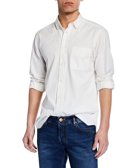 Hand Picked Men's Soft Cotton Sport Shirt, White