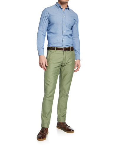 Men's Round-Pockets Tapered-Leg Chino Pants, Light Green