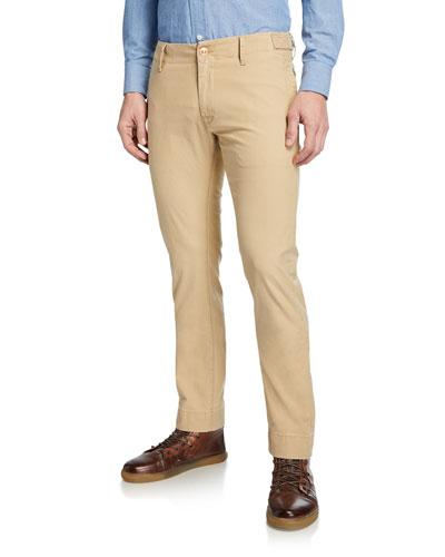 Men's Round-Pockets Tapered-Leg Chino Pants, Tan