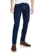 Hand Picked Men's Dark-Wash Stretch Denim Jeans