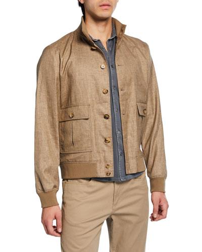 Men's Valstarino Button-Front Linen-Blend Jacket