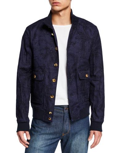 Men's Palm Leaf-Pattern Linen Jacket