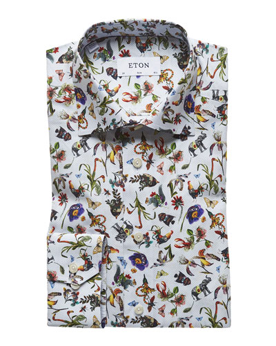 Men's Floral-Print Slim-Fit Dress Shirt