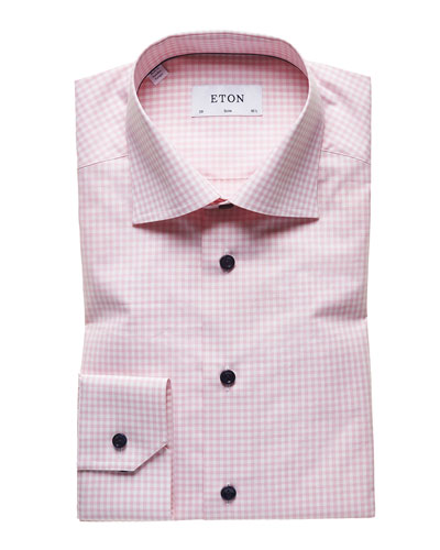 Men's Light Gingham Check Slim-Fit Dress Shirt