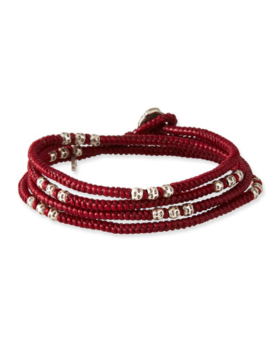 Men's Knotted Wrap Bracelet with Silver Beads, Red