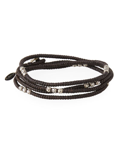 Men's Knotted Wrap Bracelet with Silver Beads, Brown