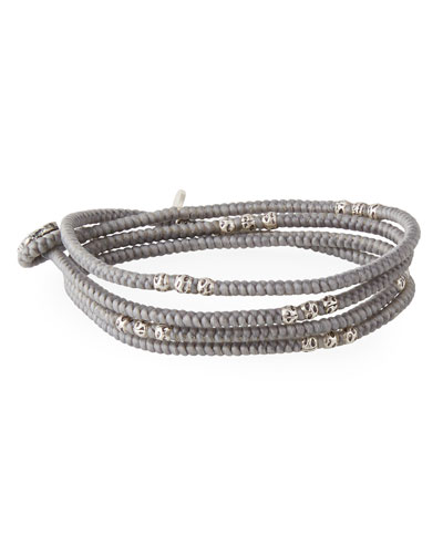 Men's Knotted Wrap Bracelet with Silver Beads, Gray